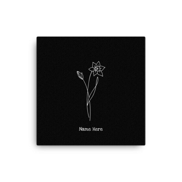 Black Canvas (12x12 in) Single Birth Flower Options