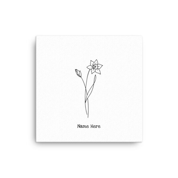 White Canvas (12x12 in) Single Birth Flower Options